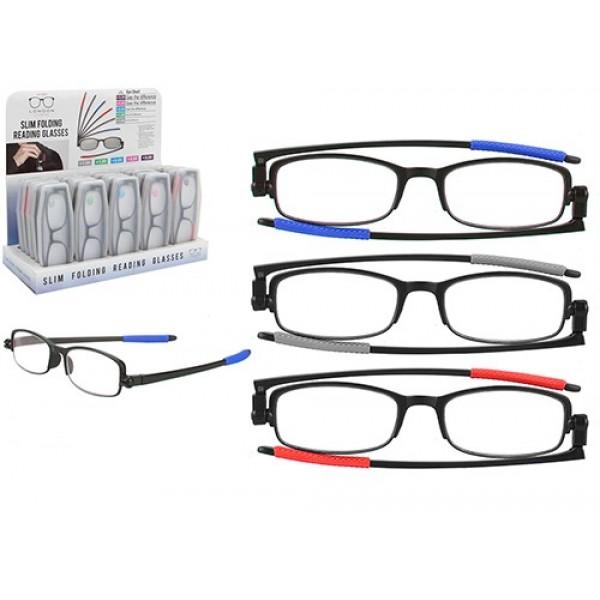 Slim Folding Reading Glasses  W/carry Case 30pc