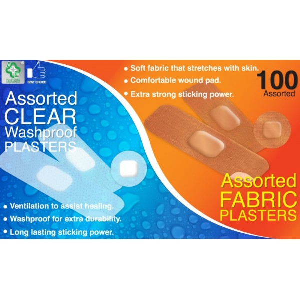 Fabric & Clear Assorted Plasters 100's
