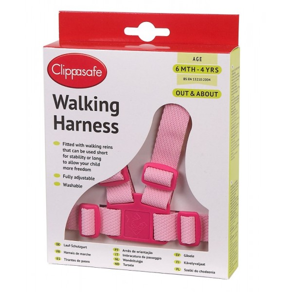 Walking Harness With Rein - Pink