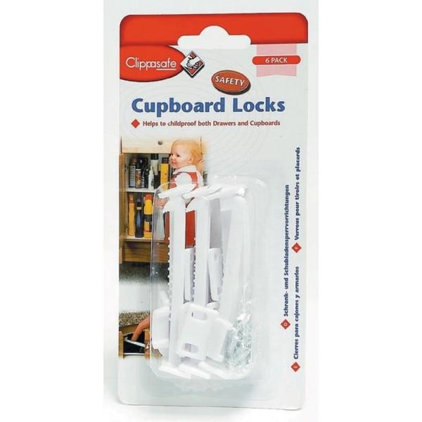 White Cupboard Locks - 6pk