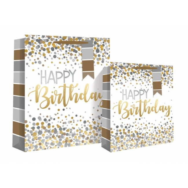 Happy Birthday Silver Gold Medium Gift Bag