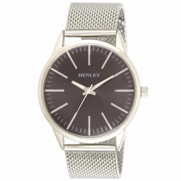 Henley Mens Contemporary Index Mesh Watch Black Charcoal