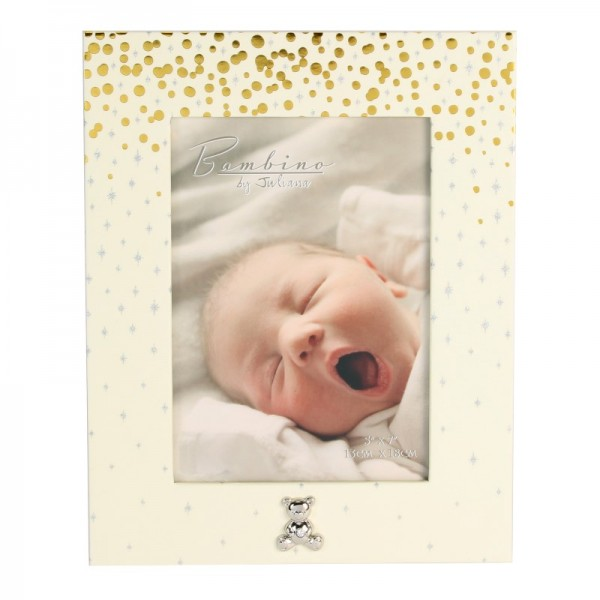 Bambino Gold & Glitter Photo Frame 5x7 Teddy Icon