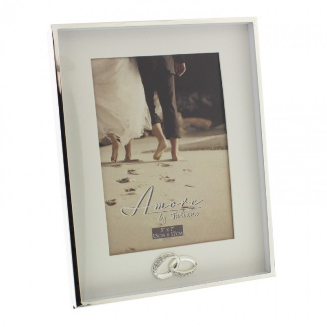 Wedding Silverplated Border Box Frame With Rings 5x7 - AMORE ...