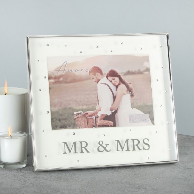 Amore Silverplated Box Frame With Crystals 5x7 Mr & Mrs ...