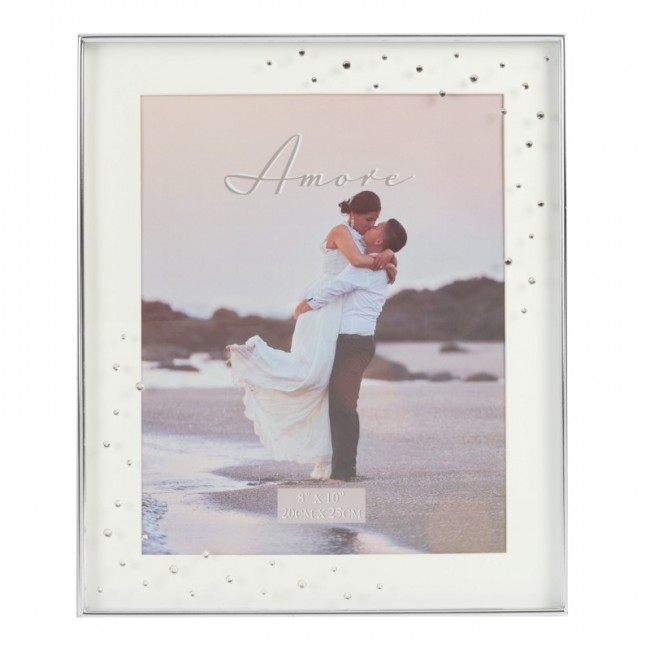 Amore Silverplated Box Frame With Crystals 8x10 - - - Kemneeds ...
