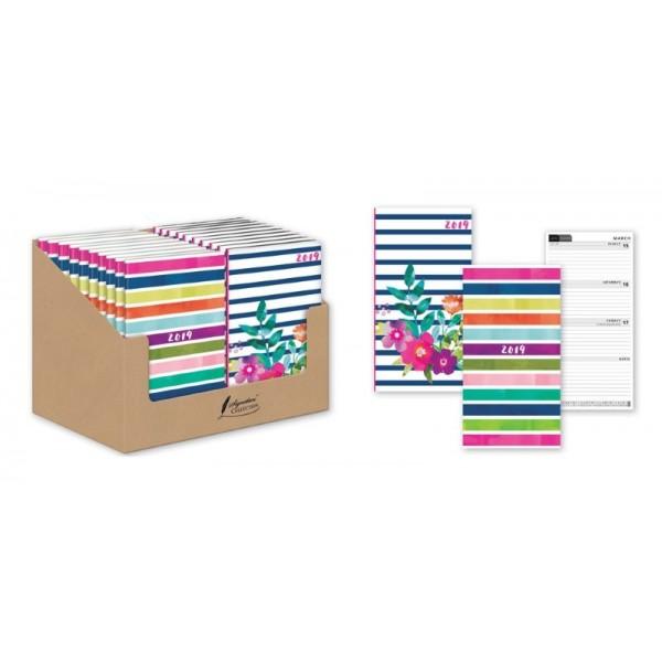 Diaries, Slim Hardback Stripe - 2 Asstd